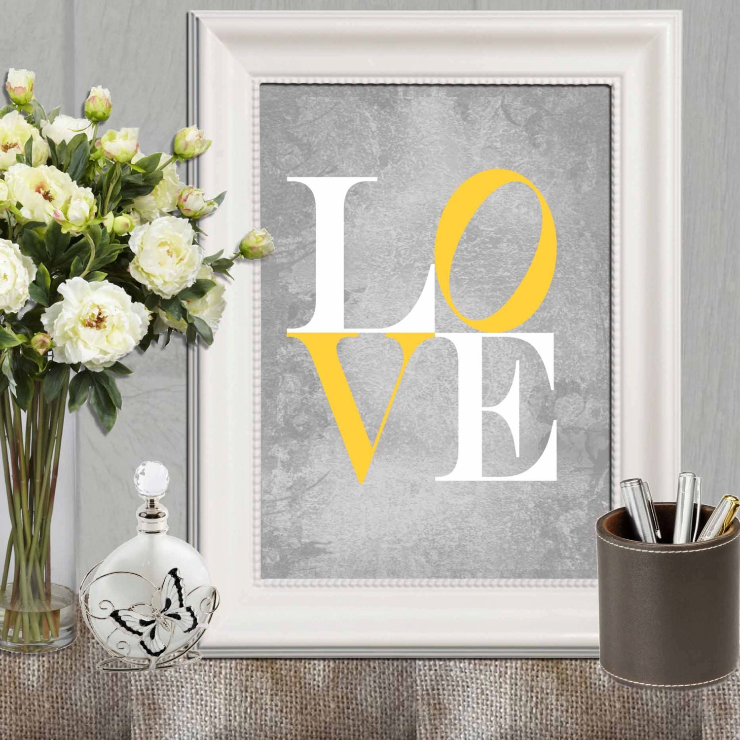 Love print yellow gray love printable nursery love print zoom amipublicfo Image collections