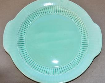 Vintage Mid Century Fiesta Green Colored Glaze Serving Dish Platter