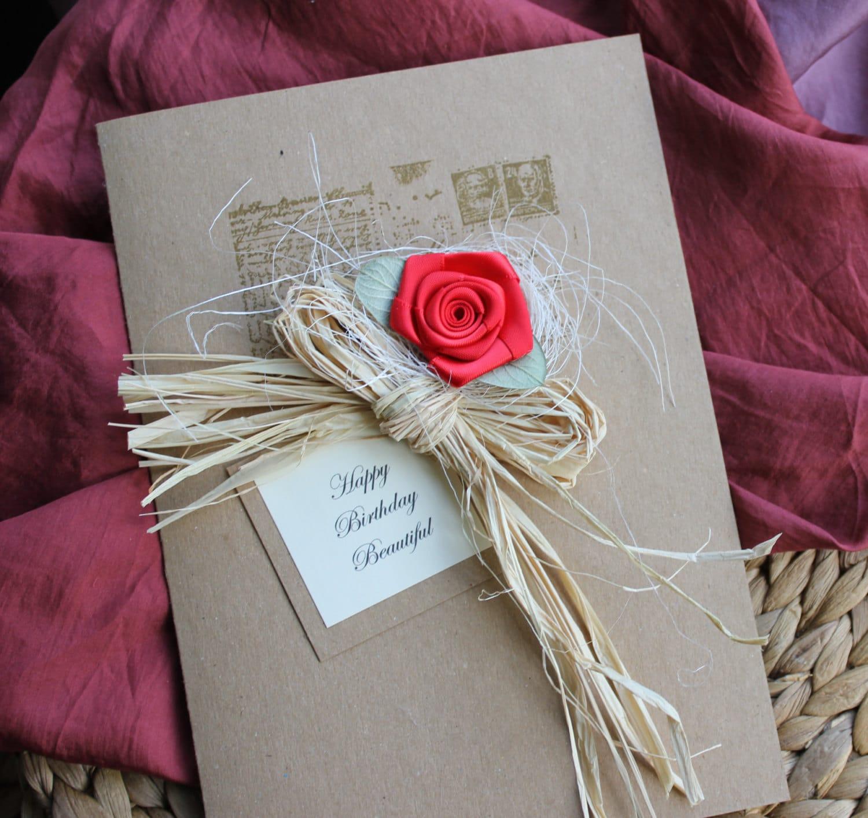 Shabby Chic Handmade Card Birthday Card Girlfriend By