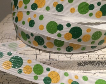 "3 yards 7/8"" St Patricks Day Glitter Polka Dot Green Yellow on White Grosgrain Ribbon"