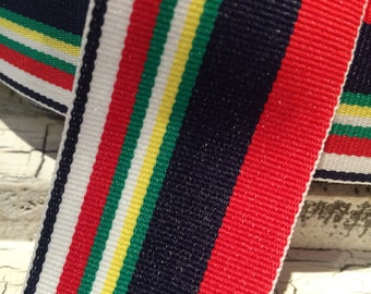 3 yards NAUTICAL STRIPE Multicolored Grosgrain Ribbon sold by the yard