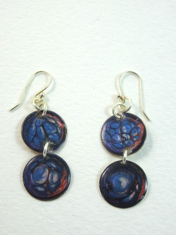 Handmade double round circle enamel copper earrings with abstract designs (multi-colors) blue and red