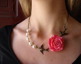 Amazing Pink Rose is Hand Wire Wrapped with Ivory Pearls and two Antiqued Style Love Birds.Bridesmaid Jewelry!! Perfect for any Occasion!!!