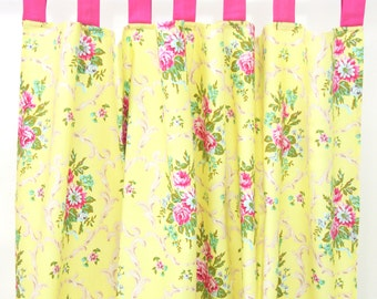 scarlettes rose pink and yellow curtain panels set of 2. Black Bedroom Furniture Sets. Home Design Ideas
