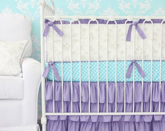 25% OFF SALE- (sheet and bumpers only) Lovely Damask Purple Ruffle Baby Bedding | 2 or 3 pc Bedding Set in Purple, Aqua, and Vintage Gray