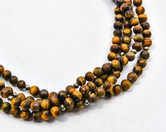 Tiger's Eye Statement Necklace, Natural Gemstone Multi Strand Necklace, Gemstone necklace, Handmade Jewelry, Gemstone Jewelry