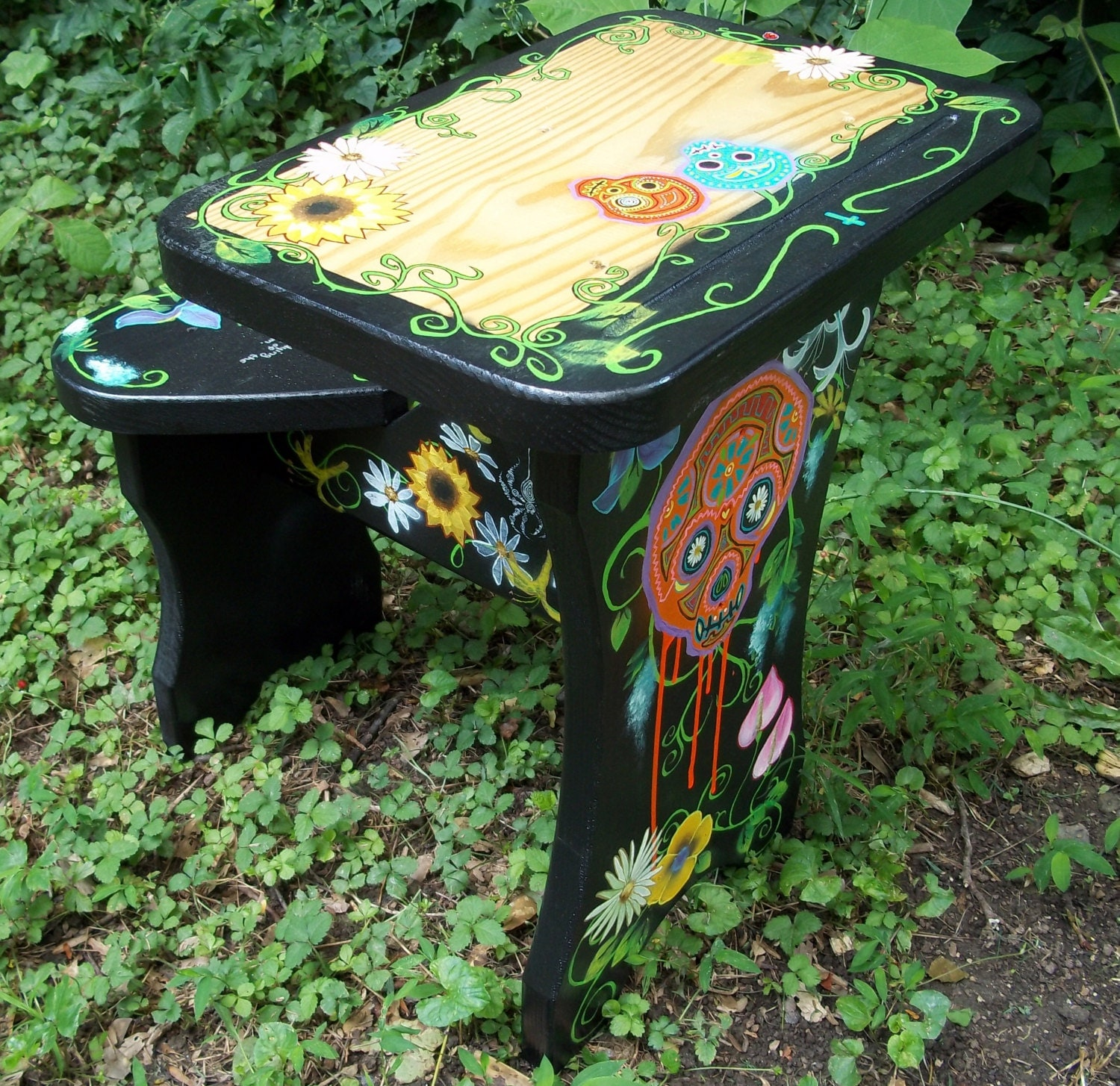 Hand painted Furniture Dia de los Muertos by