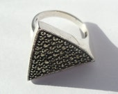 Sterling silver triangle marcasite ring - pyrite ring -marcasite ring - vintage ring