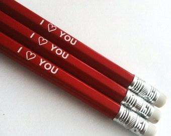 I heart you pencils