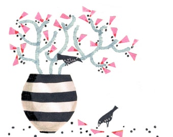 STRIPY VASE, Two small speckly birds perch on grey twigs in a striped vase with pink flowers .Printed card from collage original.