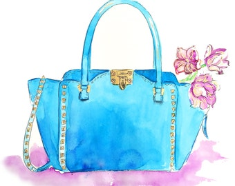 Fashion Illustration Print, Valentino Bag Illustration, Watercolor Art, Blue Valentino Bag Print, Fashion Art, Studded Valentino Bag