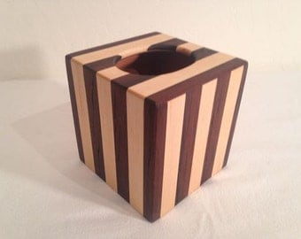 Walnut and Maple wood tissue box