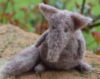 Little Needle Felt Wolf, Miniature, OOAK, fox, woodland, animal, forest, critter, miniature dolls, soft sculpture,