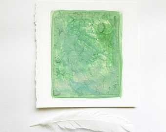 Greenery Mixed Media Art- Small Original Collage- 5x6- Green Abstract Art- Ready To Ship