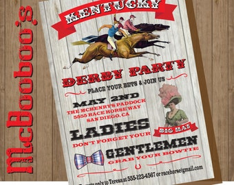Kentucky Derby Party Poster Invitation with vintage illustrations