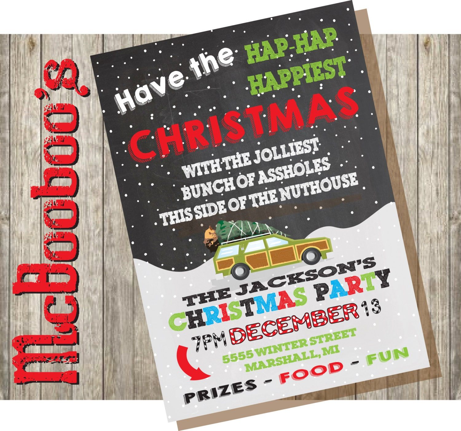 Christmas Vacation Quotes Jolliest Bunch Of: Griswold Themed Christmas Vacation Holiday Party Invitation