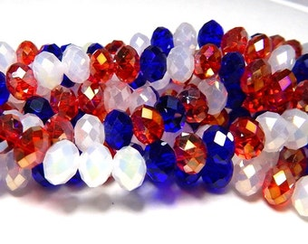 Red, White and Blue Bead Mix Crystal Rondelles 8x5mm, Multi-Color Crystal Beads American  Beads, Red Beads, Blue Beads, White Beads, D-C38