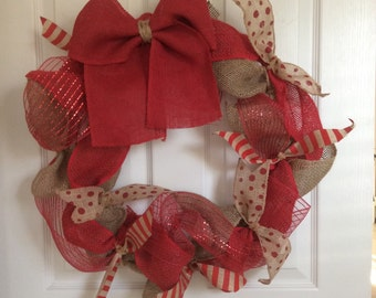 Valentine's Day burlap and mesh wreath