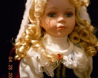 Winter Porcelain doll 16 inches tall