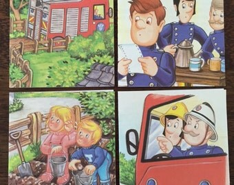 Set of 4 handmade blank Fireman Sam cards; notecards; card for him; fathers day card; birthday card