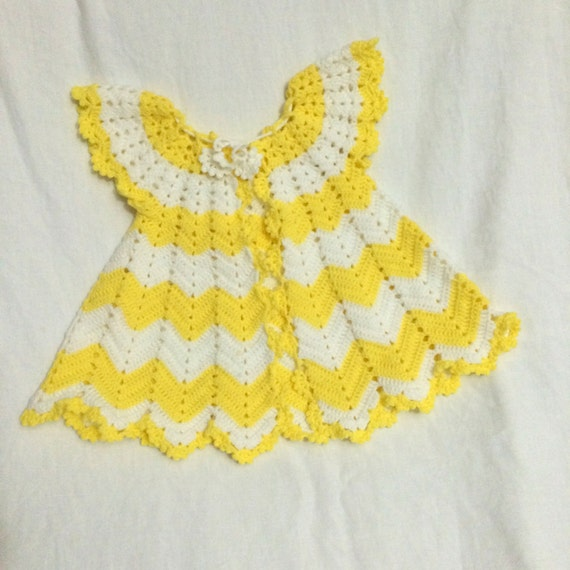 Crochet Chevron Baby Dress Pattern : Crochet Baby Dress Pattern, First Outfit Baby Shower Gift ...