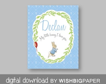PETER RABBIT Nursery Decor-Digital Download.Peter Rabbit Bedroom Art.Peter Rabbit Nursery Art Print-Peter Rabbit Personalised.Gift