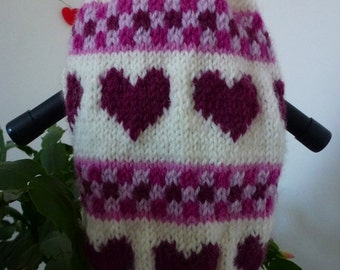 Hand knitted dog sweater with hearts