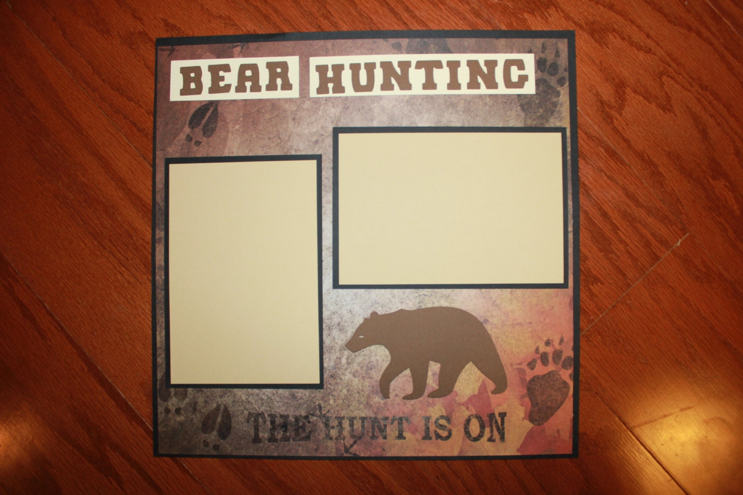 12 x 12 premade bear hunting scrapbook layout by creationsbycindyg. Black Bedroom Furniture Sets. Home Design Ideas