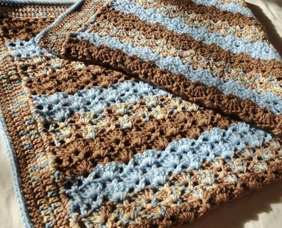 Crochet Afghan Patterns With Variegated Yarn : Brown & Blue Variegated Crocheted Baby Afghan