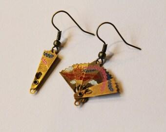 Oriental Brass Fan Earrings - Statement Jewellery - Simple - Elegant - Brass Jewelry