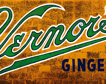 "Vernor's painted wall sign photograph on 48"" x 12"" canvas"