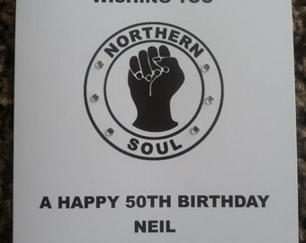 Handmade Personalised Northern Soul Birthday Card Any Age