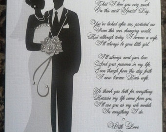 Handmade Personalised A5 Wedding Thank You Card For Parents/ Mum/ Dad etc