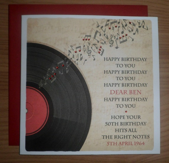 Handmade Personalised Vintage Record Theme Birthday Card Any