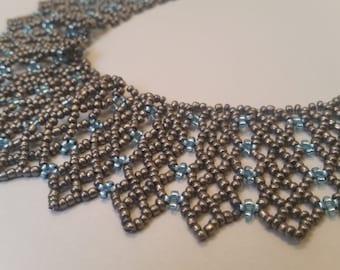 Handmade Bead Woven Blue and Bronze Collar Necklace