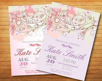 Bird Baby Shower Invitation - aby boy or baby girl shower - Floral Purple or pink - Printable Digital Invitation