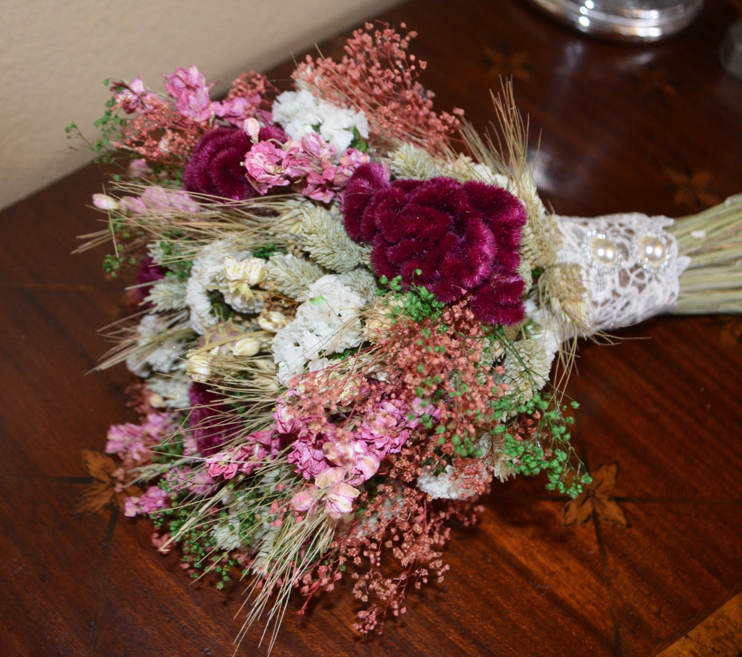 wedding bouquet dried flower wedding bouquet pink wedding