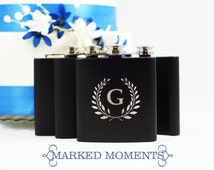 Engraved Black Flask with Single Letter Monogram Great for Groomsmen 21st Birthday Bridesmaids Father's Day WREATH Design