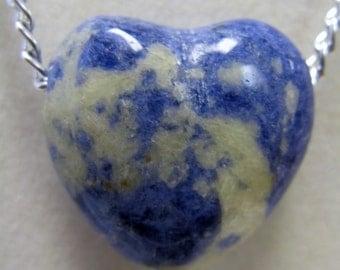 Sodalite Heart Chain Necklace #1