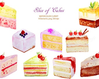 Watercolour clipart cake slices instant download scrapbook watercolor cards wedding invitations