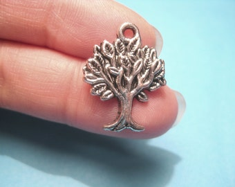 10pcs Antique Silver Tree Charms Pendants 21mm Jewelry Supplies