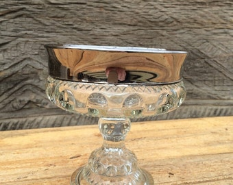 Vintage Silver Rimmed Glass Compote