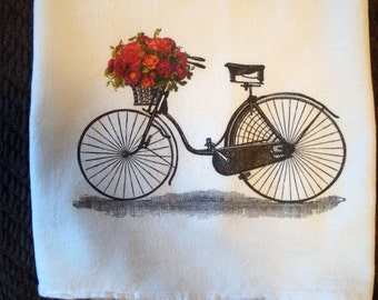 Kitchen Flour Sack Towel (Bicycle With Flowers)