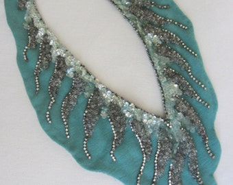 Hand Crafted Sequened Rhinestones Blue Textile Collar