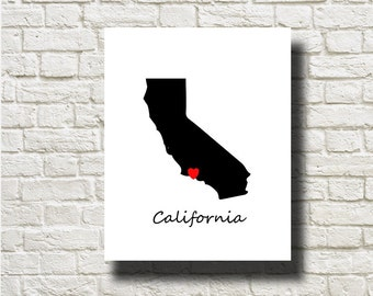 California Map Silhouettes Printable Instant Download Wall Art Home Decor DNGLMB005