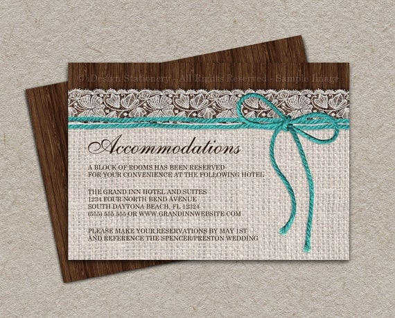 Extra Information For Wedding Invitations: Items Similar To Rustic Turquoise Wedding Accommodation