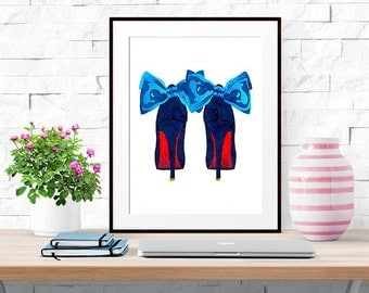 Louboutin Bow Heels -- Home Decor -- Watercolor Fashion Print