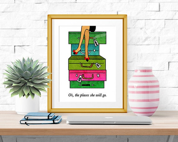 Oh the places she will go watercolor print home decor for Places to get home decor