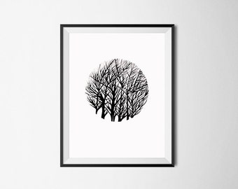 Tree Art Print/ Original Art/ Black and White Print/ Nature Drawing/ Ink Illustration/ Autumn Home Decor/ Pen Drawing/ Forest Landscape