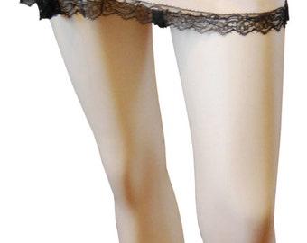 Lace Trimmed, Crepe de Chine Shortie Waist Slip